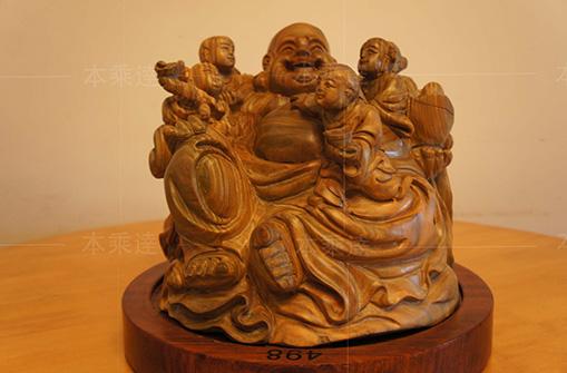 玉檀香木雕  弥勒佛像 财神佛像