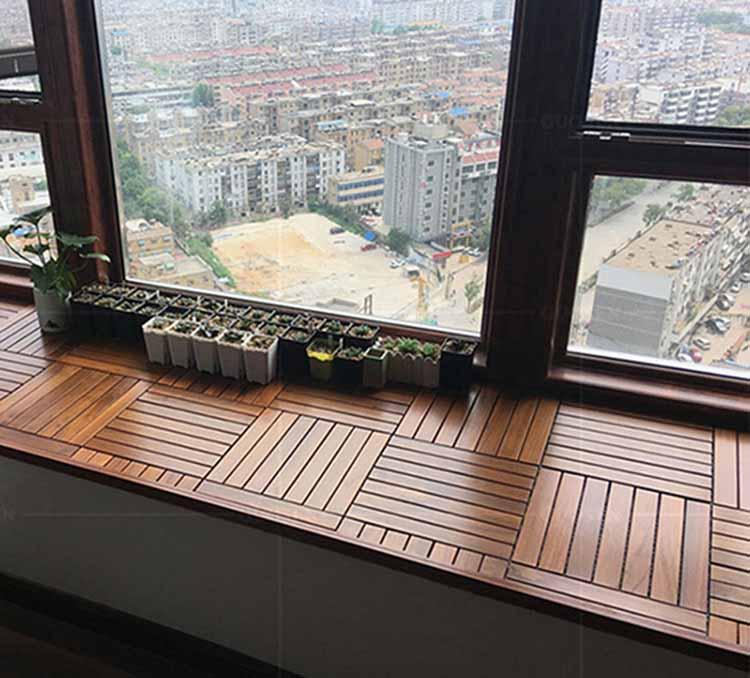 缅甸柚木实木阳台户外地板
