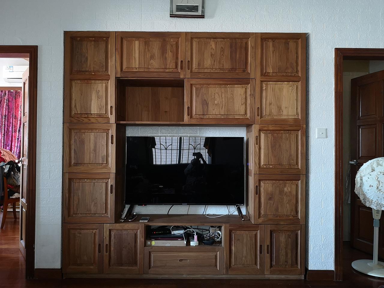 广州家装升级案例之奢华柚木组合柜定制
